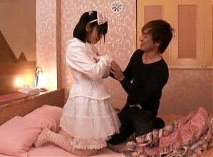 Japanese schoolgirl wants to let this man fuck her tight pussy