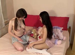 Threesome fuck with 2 innocent baby girls