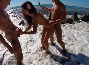 4 guys fucked a Russian whore on the beach